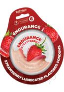 Lubricated Flavored Endurance Condoms 3 Per Pack Strawberry